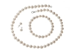 Sterling Silver White Pearl Set