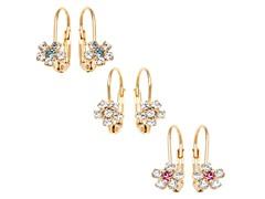 Aqua, Pink, & White Crystal Flower Set of 3 Huggie Earrings