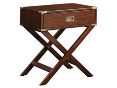 Espresso Box Accent Table with X Leg