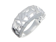 Sterling Silver Openwork X Dog Ring