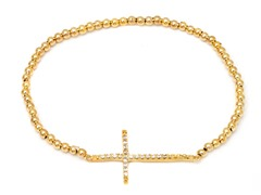 Gold/Clear Swarovski Elements Sideways Cross Bracelet