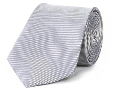 100% Silk Men's Tie, Grey Mini Squares