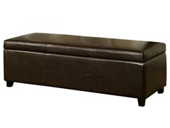 Abbyson Living Ines Leather Storage Ottoman