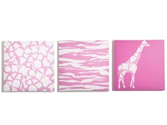 Pink Animal Party Canvas (Set of 3)
