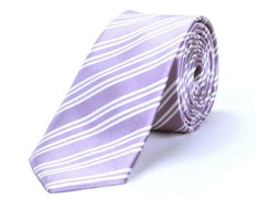 Silk Tie, Pink w/ White Stripe