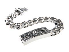 Stainless Steel & Hematite Crystal Cuban Link Cross Bracelet