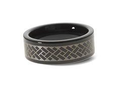 Tungsten Steel Herringbone Pattern Ring