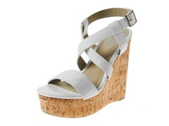 Carrini Strappy X Wedge Sandal, White