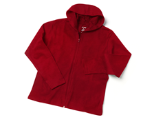 Red Full-Zip Jersey Knit Hoodie