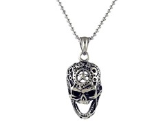 Oxidized SS Hammered Design Laughing Skull Pendant
