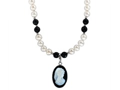 "Freshwater Pearl & Black Agate 18"" Cameo Necklace"