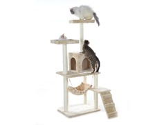 "GleePet 57"" Cat Tree Beige with Ramp"