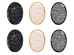 Black, Grey, & White Multi Color Druzy Crystal Oval Set of 3 Stud Earring