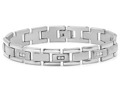Stainless Steel Sim. Diamond Bracelet