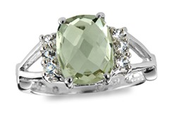 SS, Green Amethyst & White Topaz Ring