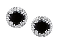 SS Black CZ Halo Stud Earrings