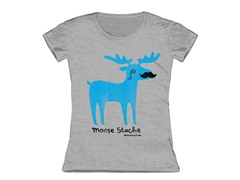 Girls Toddler Tee - Moose Stache (3T,4T)