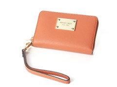 iPhone Saffiano Zip Wallet, Tangerine
