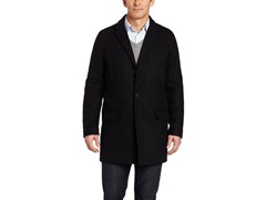 Tommy Hilfiger Men's Melton Top Coat,Blk