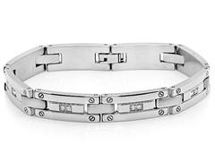 Stainless Steel Link Bracelet w/ CZ