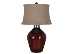 3-Way Red Glass Table Lamp