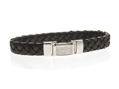 Braided Black Leather and CZ Bracelet