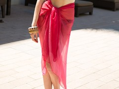 Cotton Ombre Sarong Hot Pink