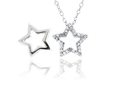 SS Reversible CZ Open Star Pendant w/ Chain