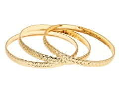18kt Plated Fancy Diamond Cut Bangle Set 3-Pack