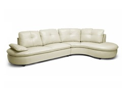 Hilaria Beige Leather Modern Sectional Sofa
