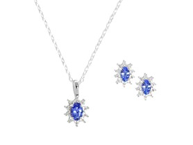 Tanzanite & Diamond Starburst Earring/Pendant Set
