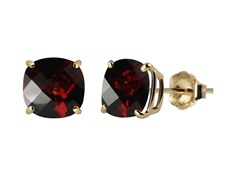 10K YG Stud Earrings, Garnet