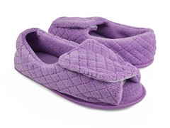 Micro-Chenille Adjustable Open Toe Full Foot Slipper, Lavender