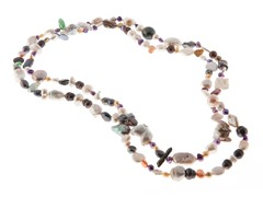 Multi Color Endless Pearl Necklace, 64""
