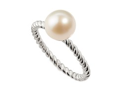 Sterling Silver Solitaire Pearl Ring, White