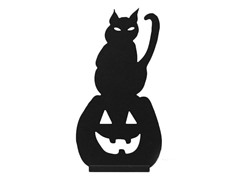 "16"" Wood Cat and Jack-O-Lantern Silhouette"