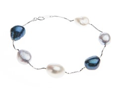 14kt White Gold Pearl Tin Cup Bracelet