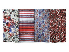 4-Pack Silk Scarves, Red