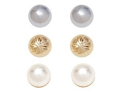 Gold, Pearl, & Silver Ball Set of 3 Stud Earrings