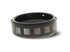 Tungsten Two-Tone Square Pattern Ring