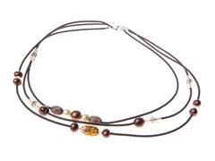 SS Golden Pearl and Bead Rubber Necklace