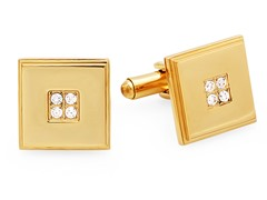18kt Gold Plated Cufflinks w/ CZ Accent