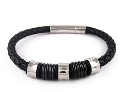 Genuine Black Braided Leather and Black Ion Plated SS Magnetic Clasp Bracelet