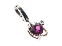 14Kt Gold, SS, Diamond, Red Mystic Topaz Devil Charm