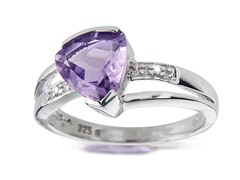 SS Amethyst & Diamond Ring