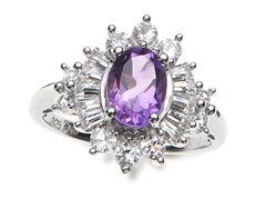 SS, Amethyst & White Sapphire Cocktail Ring