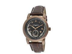 Black/Silver Dial Brown Leather Watch