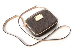 Michael Kors Jet Set Small Crossbody, Brown PVC