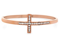 18kt Rose Gold Plated Bangle w/ Cross