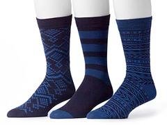 Muk Luks Men's 3 Pair Pack Socks, Navy